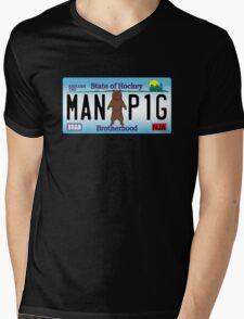 Man Bear Pig Plate Mens V-Neck T-Shirt