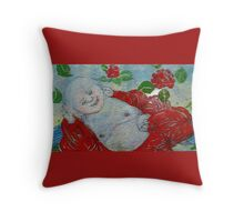 Reclining Buddha in red robe. Throw Pillow