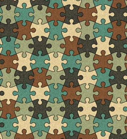 Jigsaw Puzzle Pattern in Nature Color Palette Sticker