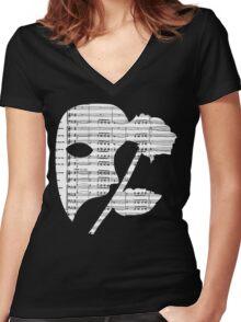 Phantom Music Sheet Women's Fitted V-Neck T-Shirt
