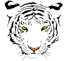 Green-Eyes White Tiger by FeamiHuX
