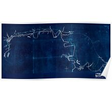 Civil War Maps 2102 Map of the Etowah River from Rome to Cartersville Georgia Inverted Poster