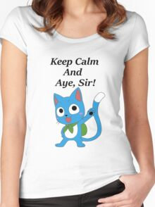 Fairy Tail Happy Aye, Sir! Women's Fitted Scoop T-Shirt