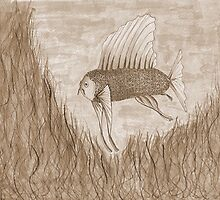 Peach faced yellow sail fin fish - sepia version by Stevie the floating artist