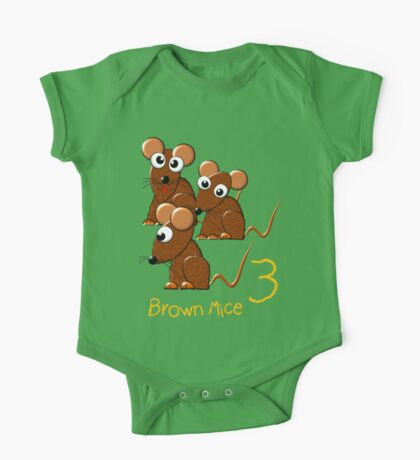 Three Brown Mice T-shirt, etc.design. One Piece - Short Sleeve