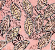 Leaves 30 Mixed Media - Ink on Acrylic Monoprint by Heatherian