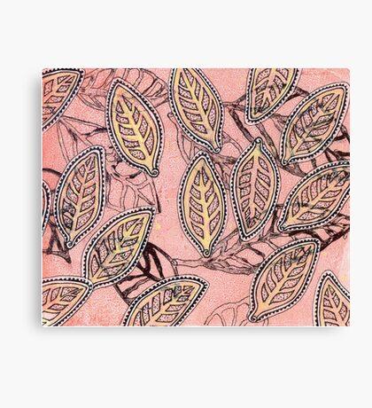 Leaves 30 Mixed Media - Ink on Acrylic Monoprint Canvas Print