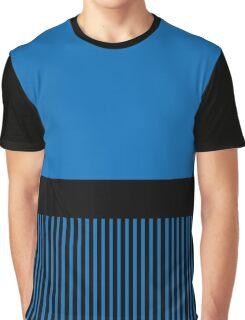 Trendy Dazzling Blue Black Stripes Graphic T-Shirt