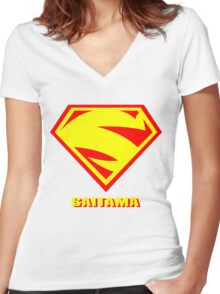 S for SAITAMA Women's Fitted V-Neck T-Shirt
