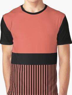 Trendy Bittersweet Orange Chic Black Stripes Graphic T-Shirt