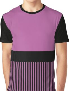 Trendy Radiant Orchid Chic Black Stripes Graphic T-Shirt