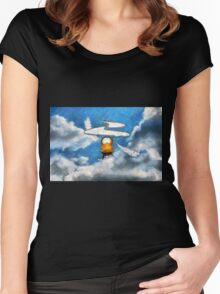 A digital painting of the Aerial Screw, flying machine Women's Fitted Scoop T-Shirt