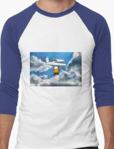 A digital painting of the Aerial Screw, flying machine Men's Baseball ¾ T-Shirt