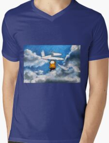 A digital painting of the Aerial Screw, flying machine Mens V-Neck T-Shirt