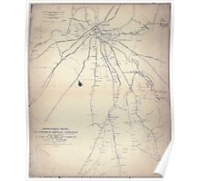 Civil War Maps 1861 Topographical sketch of the environs of Nashville Tennessee Poster
