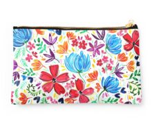 Bright Watercolor Wildflowers Design Studio Pouch