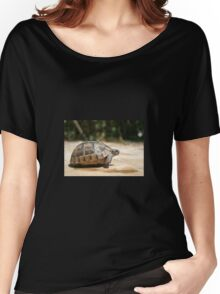 Sideview of A Walking Turkish Tortoise Women's Relaxed Fit T-Shirt