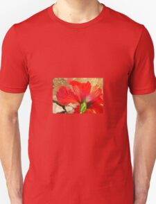 Back Of A Red Hibiscus Flower Against Stone Unisex T-Shirt