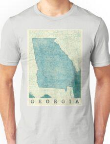 Georgia State Map Blue Vintage Unisex T-Shirt