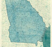 Georgia State Map Blue Vintage by HubertRoguski