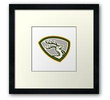 Stag Deer Retro Woodcut Shield Framed Print