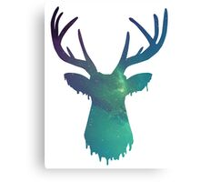 Space and deer modern green design Canvas Print