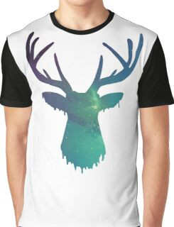 Space and deer modern green design Graphic T-Shirt