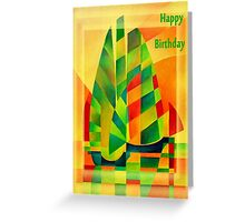 Happy Birthday Chinese Junks, Sunset, Sails and Shadows Greeting Card