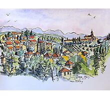 Siena, Italy. 2015© pen and wash Photographic Print