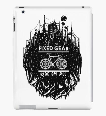 Fixed gear, bike, cycling, skull emblem, bicycle iPad Case/Skin