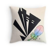 shapes + feather Throw Pillow
