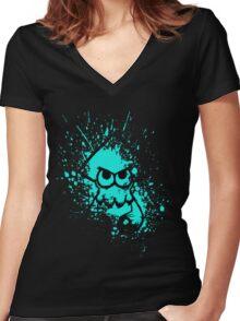 Splatoon Black Squid on Cyan Splatter Mask Women's Fitted V-Neck T-Shirt