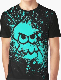 Splatoon Black Squid on Cyan Splatter Mask Graphic T-Shirt