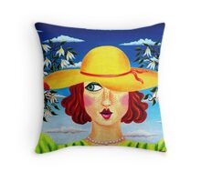 lady with hat and admirers - drosera weisse Throw Pillow