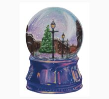 Snowing Street with Lamppost Snow Globe Baby Tee