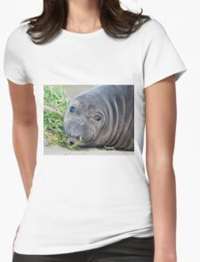 Cute Northern Elephant Seal Pup at Piedras Blancas Womens Fitted T-Shirt