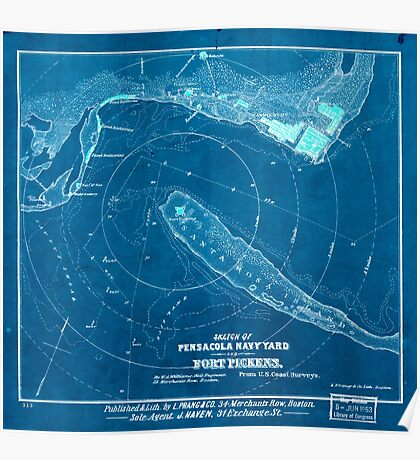 Civil War Maps 1619 Sketch of Pensacola Navy Yard and Fort Pickens from US coast surveys Inverted Poster