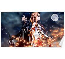 anime sao kirito and asuna epic Poster