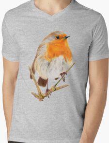 Cute Red Robin Mens V-Neck T-Shirt