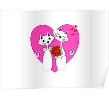 Cute Whimsy Romantic Valentines Heart Cats Poster
