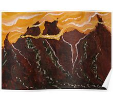 Mountains and Yellow Sky Poster