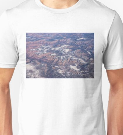 Red Earth Canyons with a Dusting of Snow Unisex T-Shirt