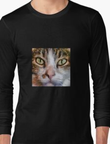 Long Haired Tabby Cat Close Up Portrait Long Sleeve T-Shirt