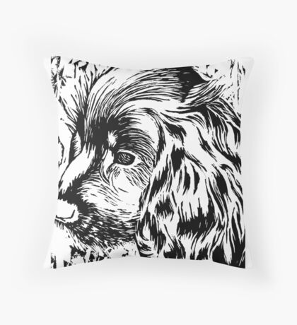 Cute Black and White Puppy Throw Pillow
