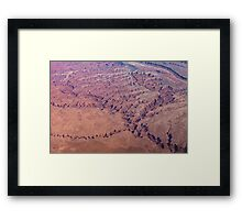 Red Earth - Flying Over Meandering Canyons, Riverbeds and Mesas Framed Print