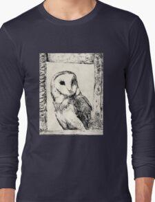 Monochrome Barn Owl Print Long Sleeve T-Shirt