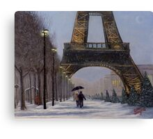 Eiffel tower in the snow Canvas Print