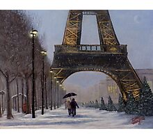Eiffel tower in the snow Photographic Print