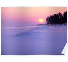 Sunset in winter Poster