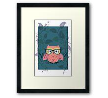 Cute Wild Life Hipster owl. Framed Print